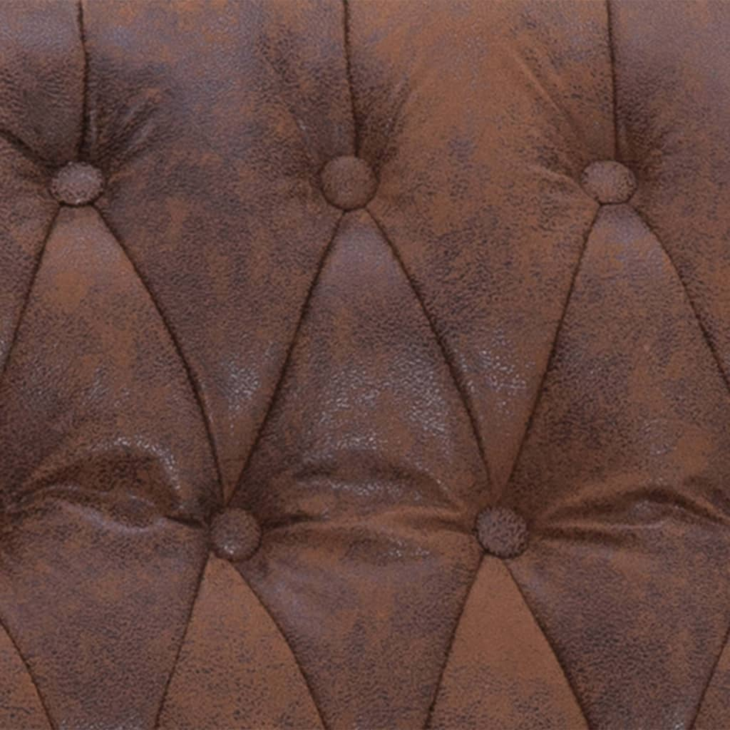 Massage Recliner Chair Brown Faux Suede Leather 3