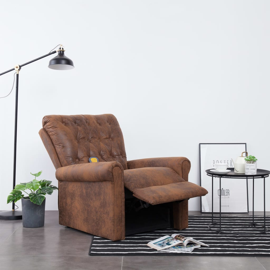Massage Recliner Chair Brown Faux Suede Leather 4