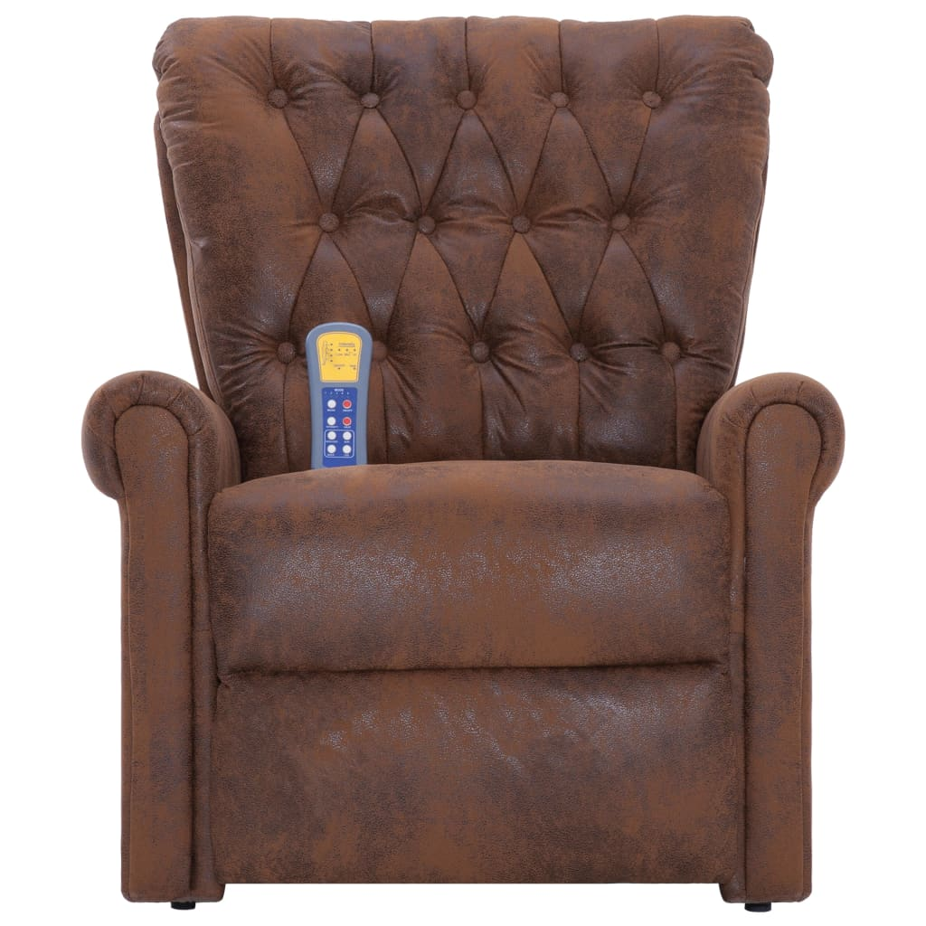 Massage Recliner Chair Brown Faux Suede Leather 5