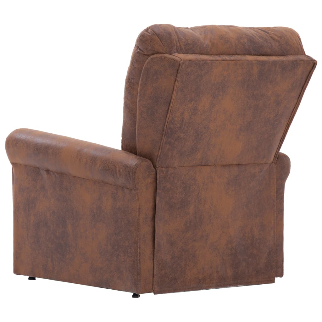 Massage Recliner Chair Brown Faux Suede Leather 6