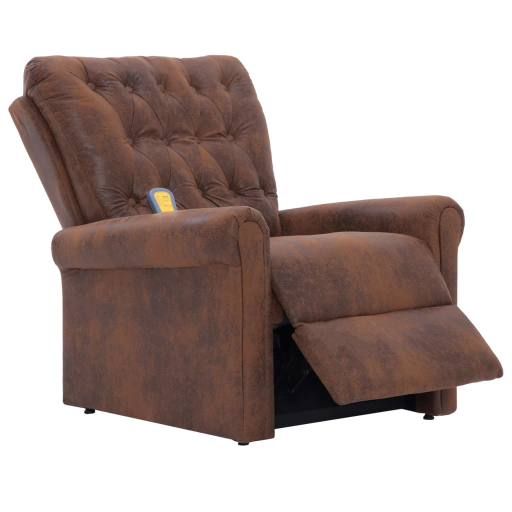 Massage Recliner Chair Brown Faux Suede Leather 7