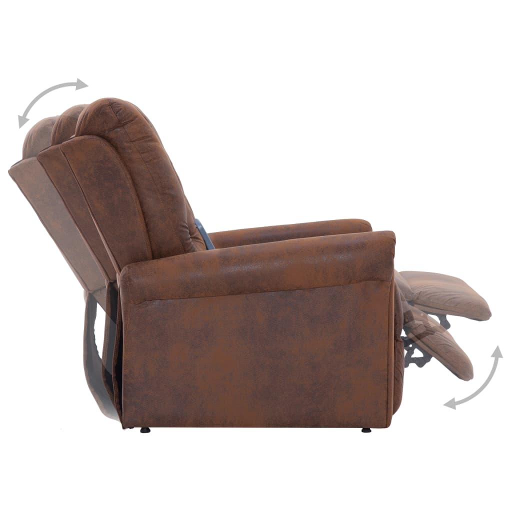 Massage Recliner Chair Brown Faux Suede Leather 8