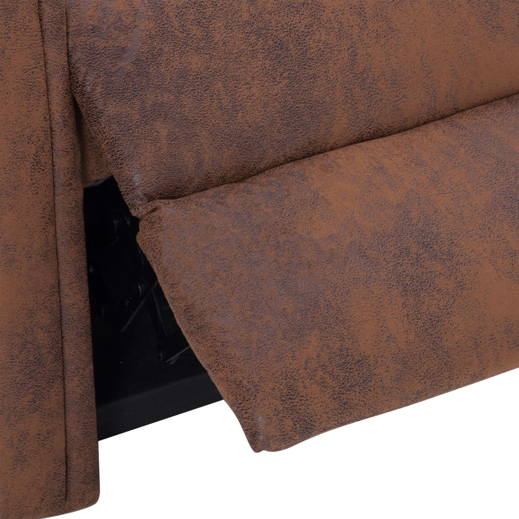 Massage Recliner Chair Brown Faux Suede Leather 9