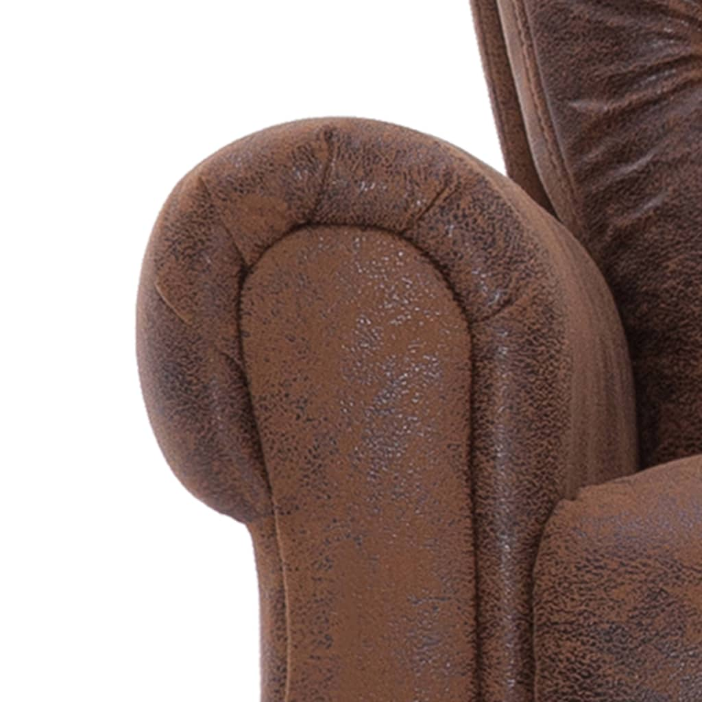 Massage Recliner Chair Brown Faux Suede Leather 10
