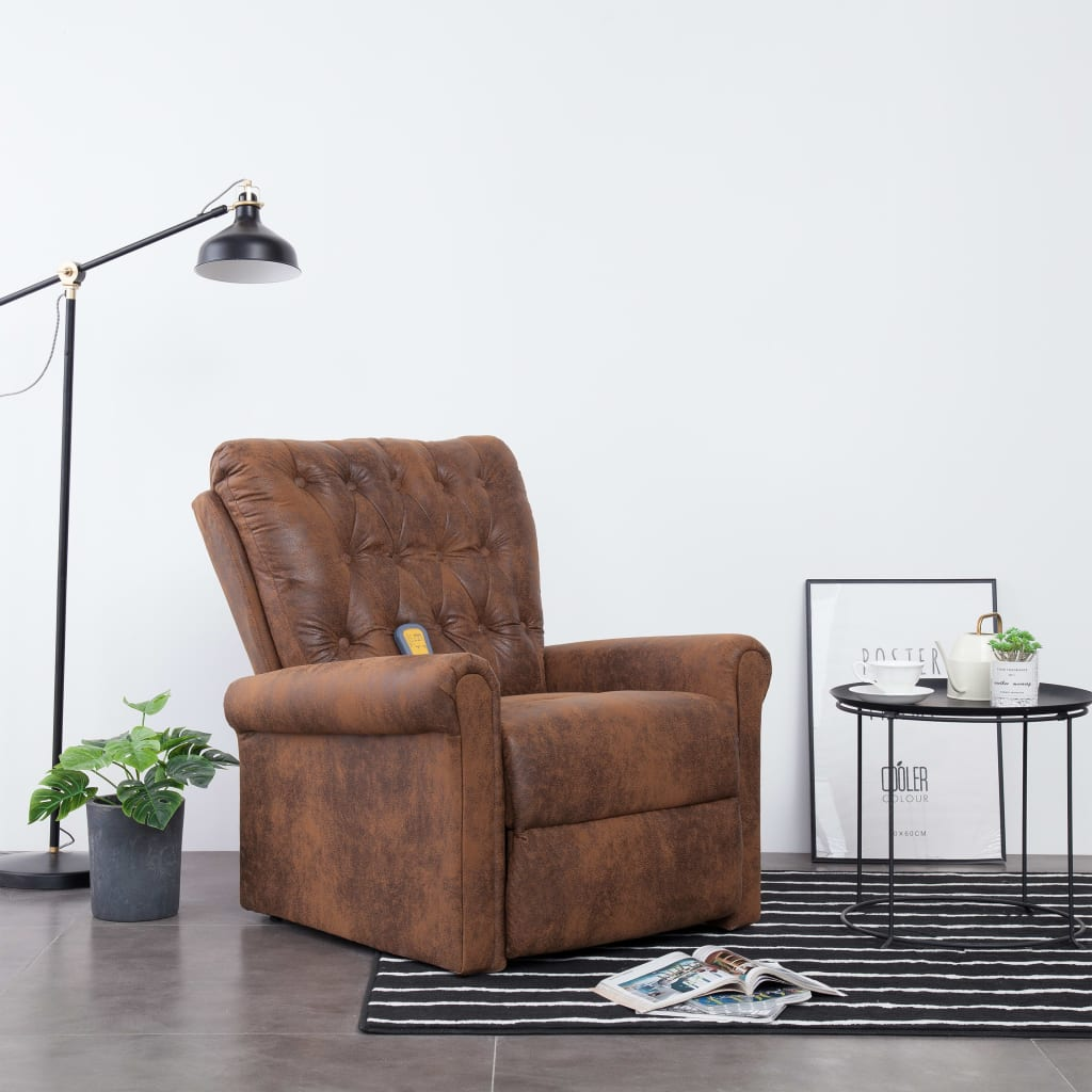 Massage Recliner Chair Brown Faux Suede Leather