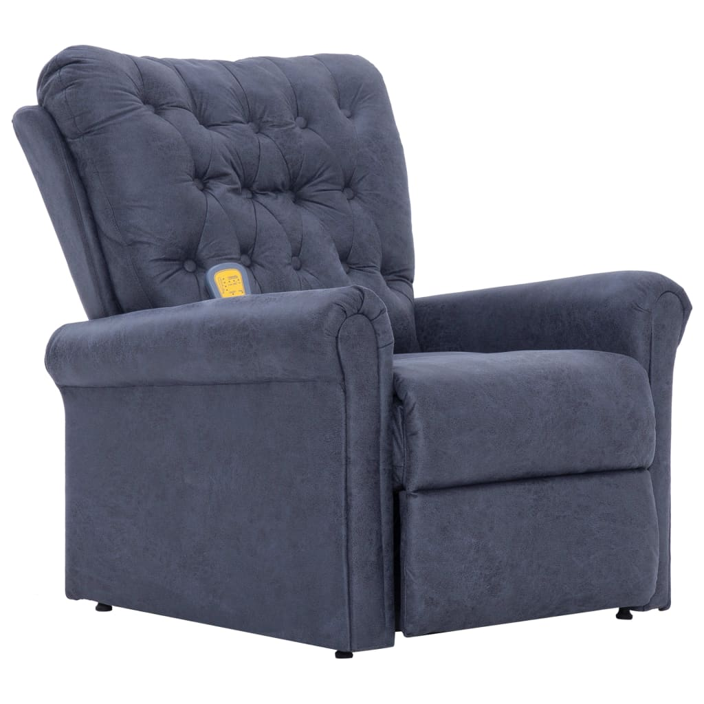 Massage Recliner Chair Grey Faux Suede Leather 2