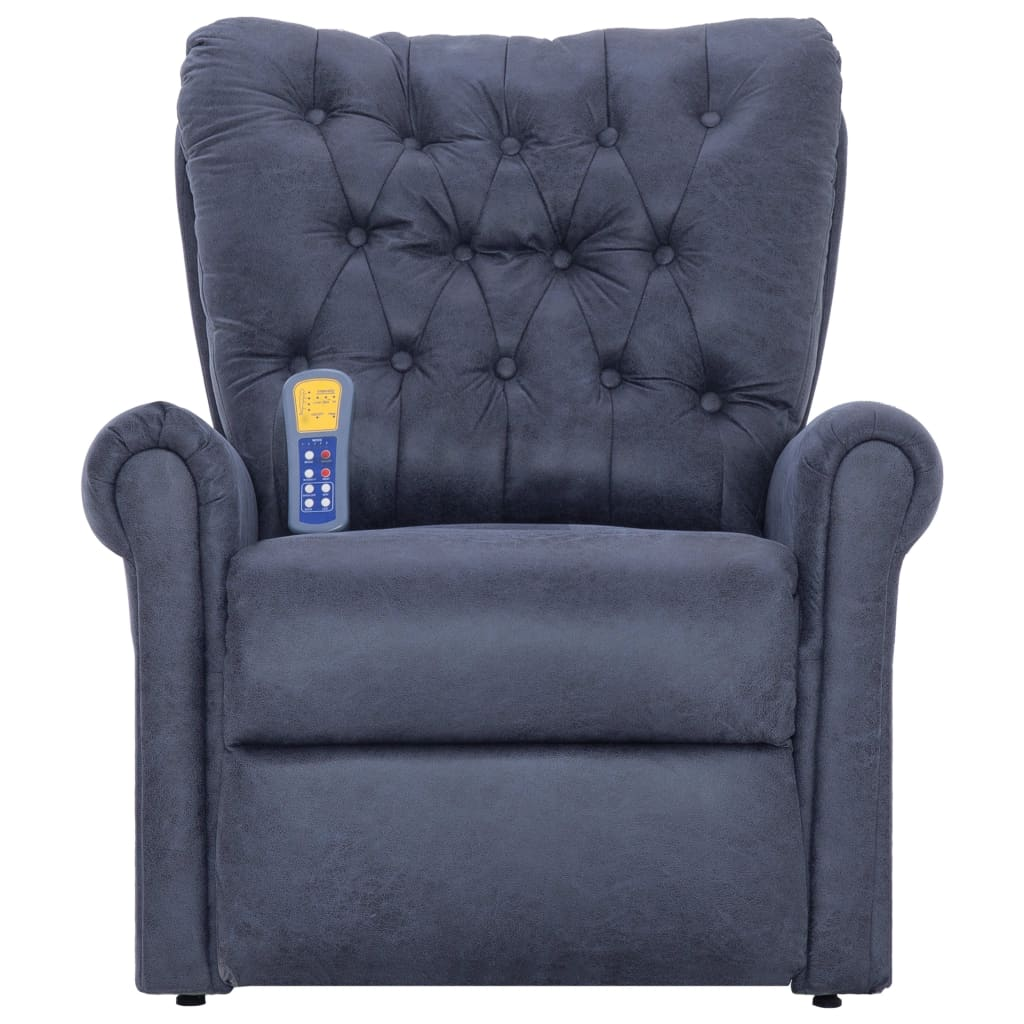 Massage Recliner Chair Grey Faux Suede Leather 5