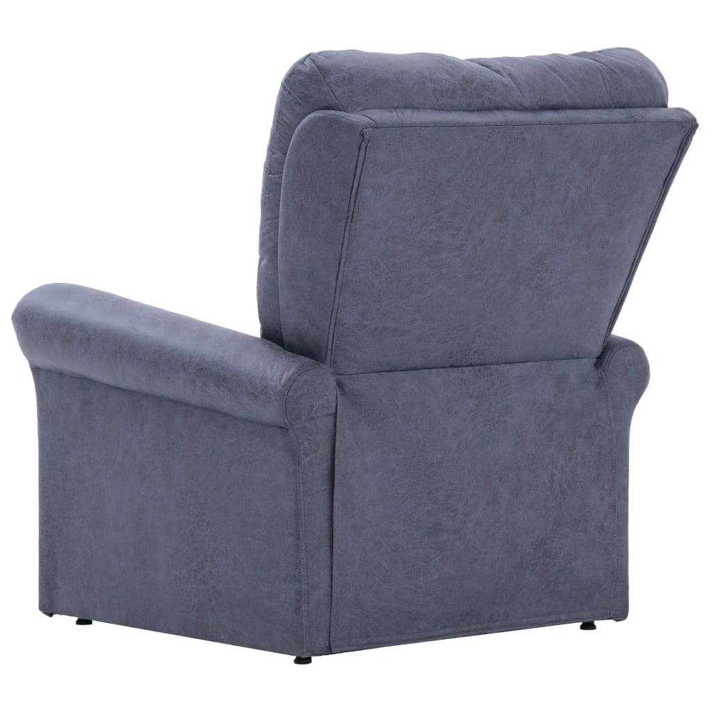 Massage Recliner Chair Grey Faux Suede Leather 6