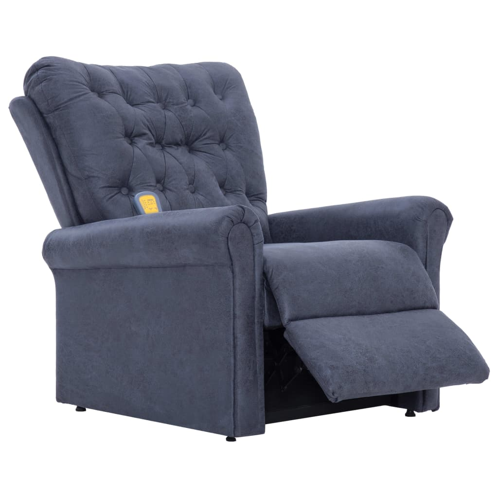 Massage Recliner Chair Grey Faux Suede Leather 7