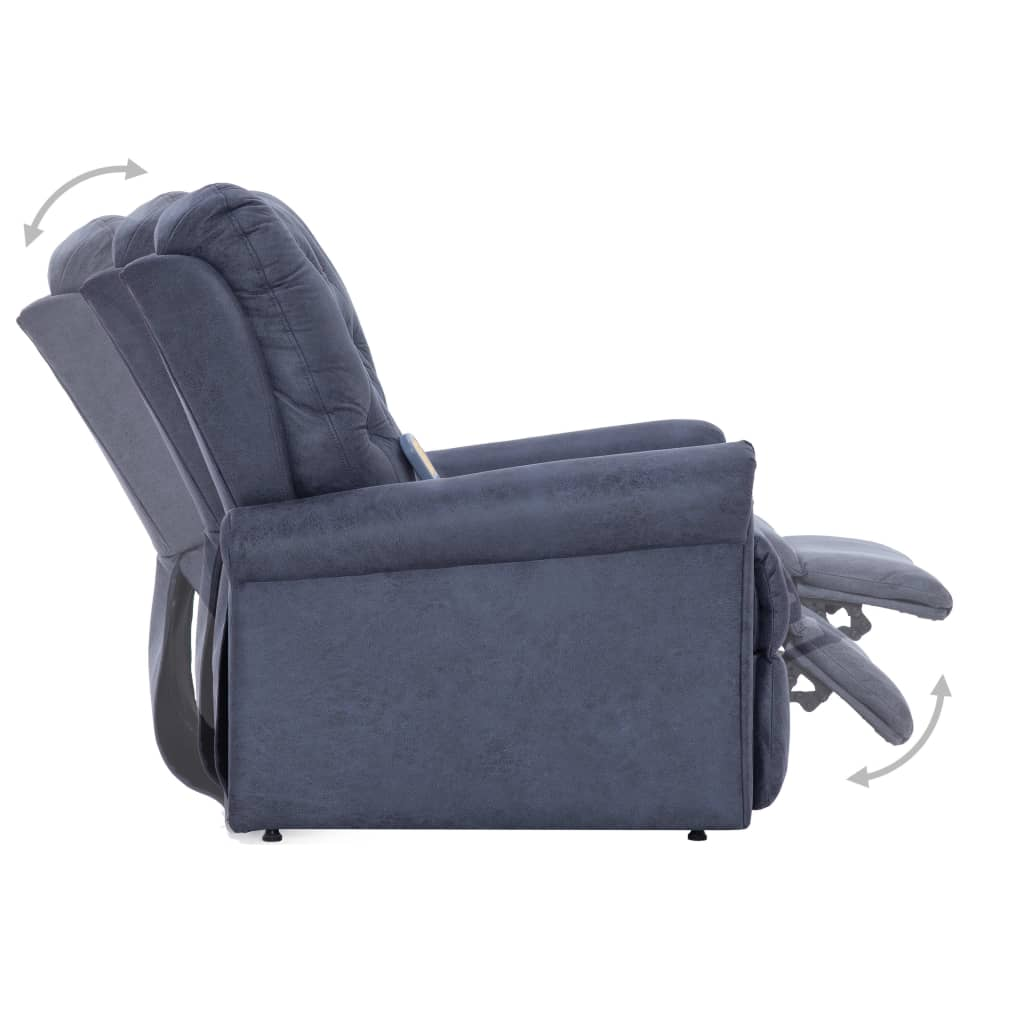 Massage Recliner Chair Grey Faux Suede Leather 8