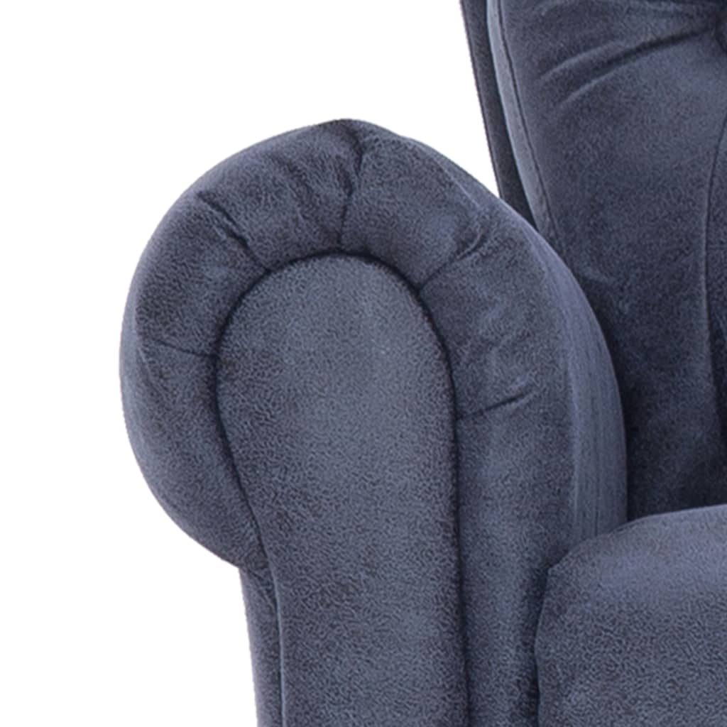 Massage Recliner Chair Grey Faux Suede Leather 10