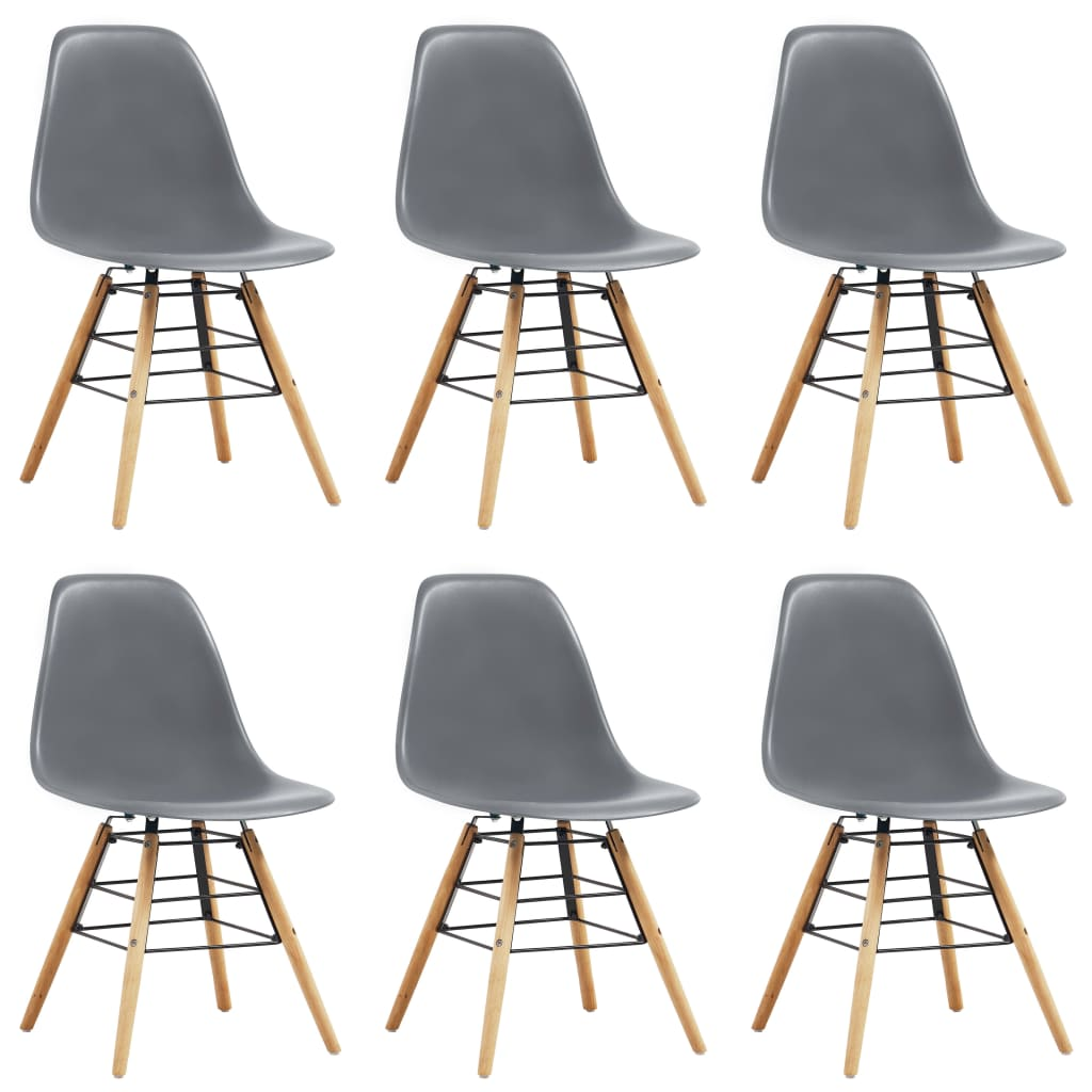 Dining Chairs 6 pcs Grey Plastic