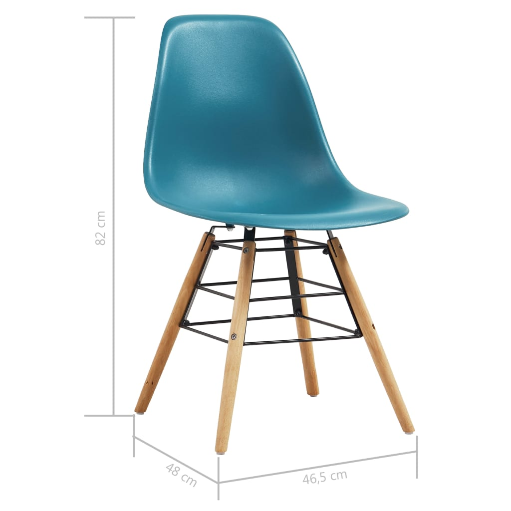 Dining Chairs 2 pcs Turquoise Plastic 7