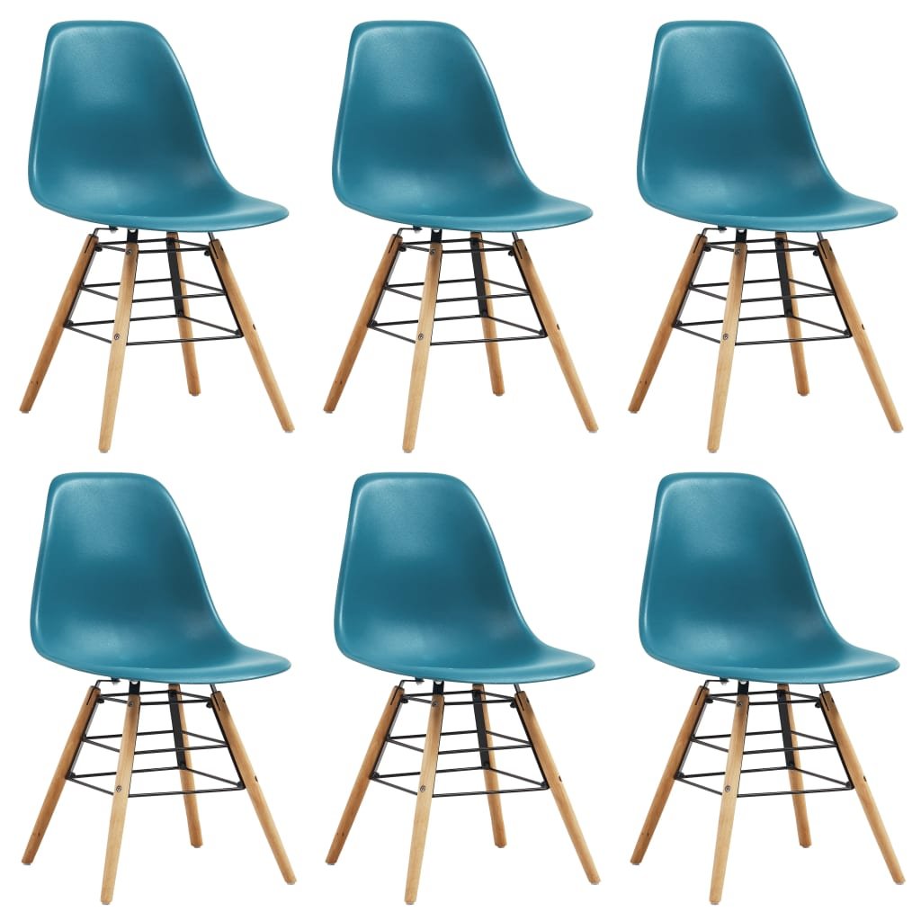 Dining Chairs 6 pcs Turquoise Plastic 1