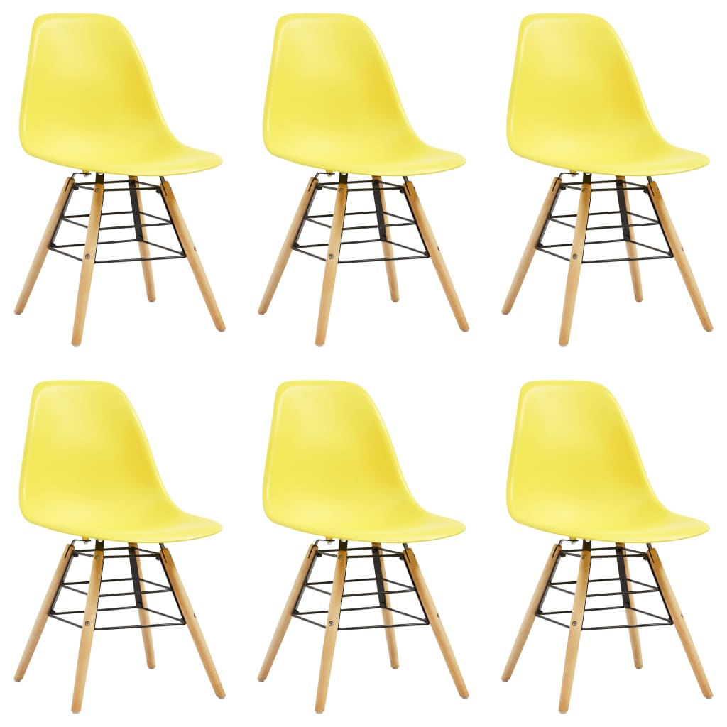 Dining Chairs 6 pcs Yellow Plastic 1