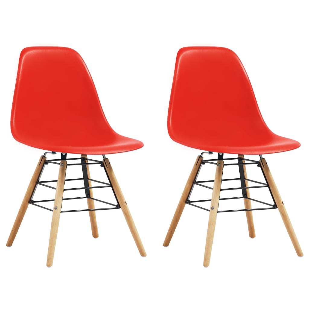 Dining Chairs 2 pcs Red Plastic 1