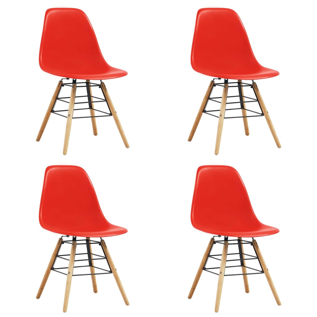 Dining Chairs 4 pcs Red Plastic