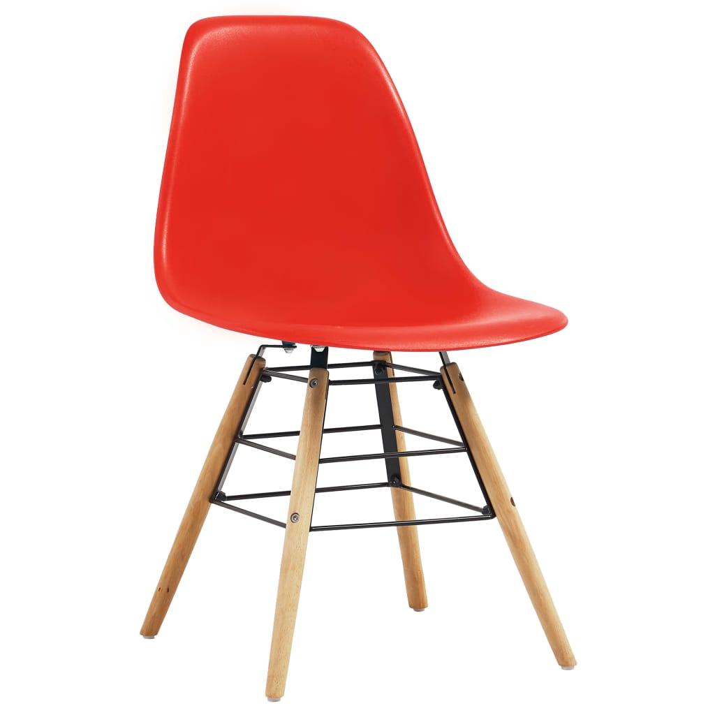 Dining Chairs 4 pcs Red Plastic 2