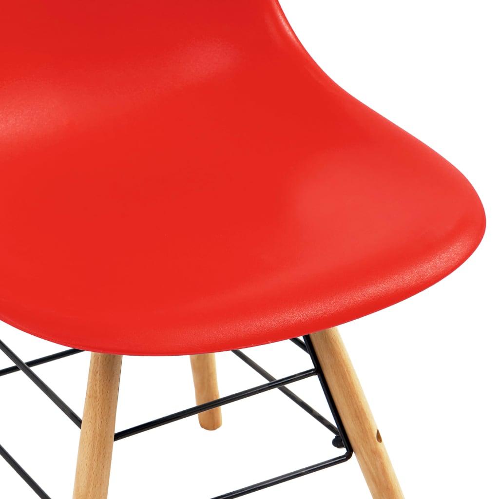 Dining Chairs 4 pcs Red Plastic 6