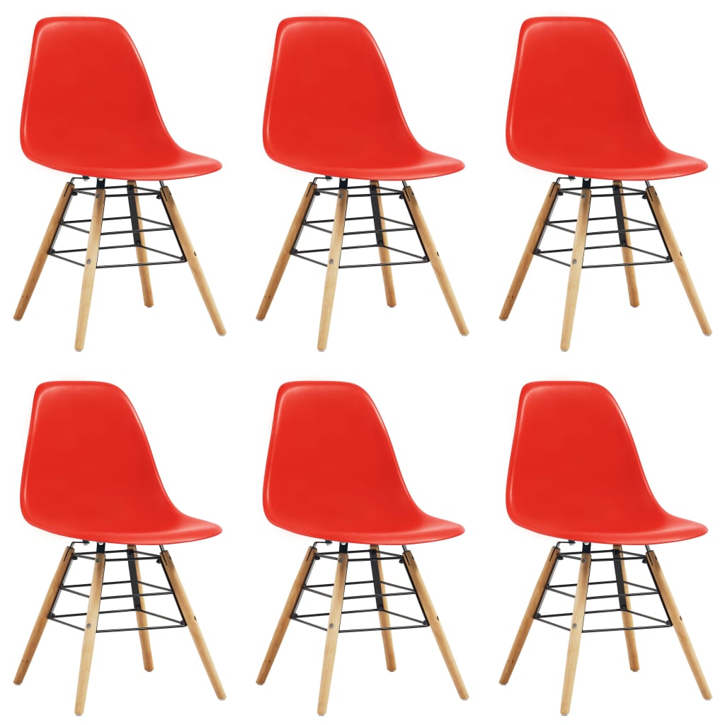 Dining Chairs 6 pcs Red Plastic 1
