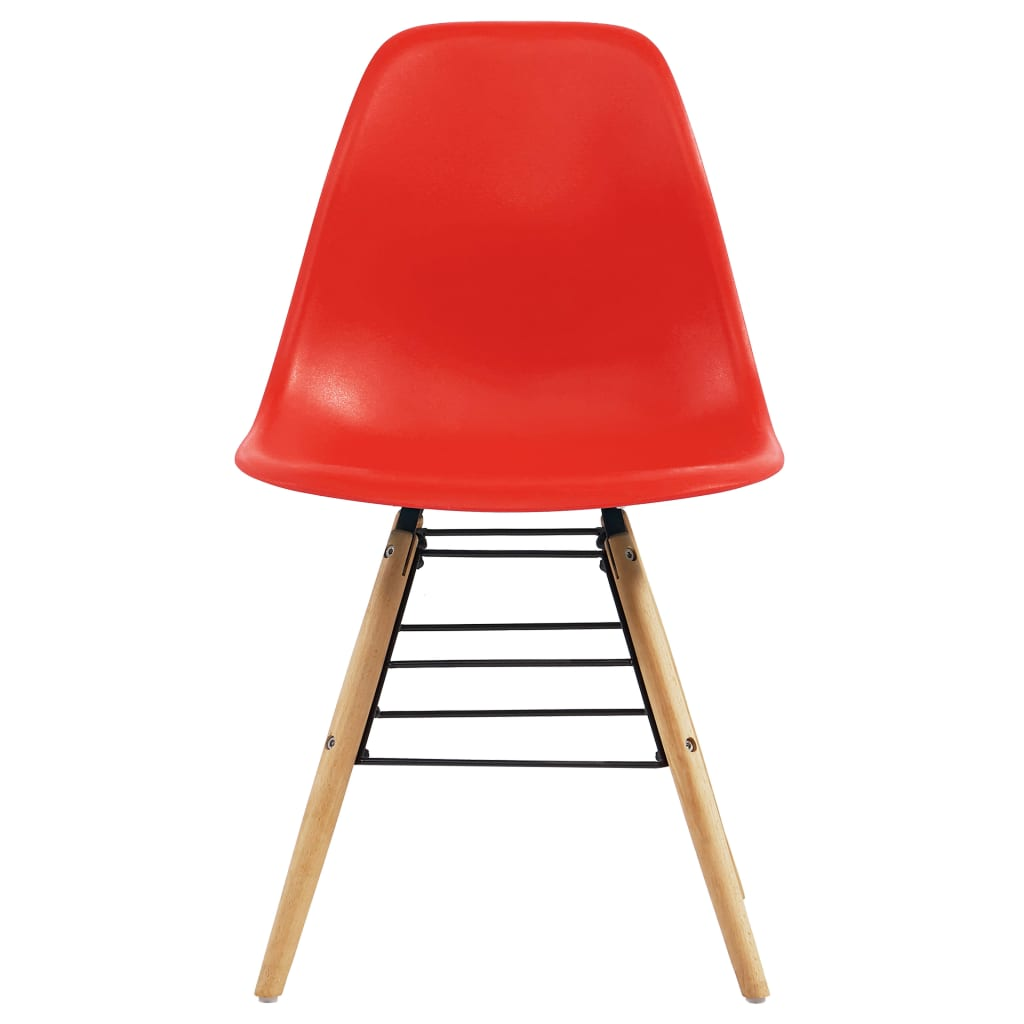 Dining Chairs 6 pcs Red Plastic 3