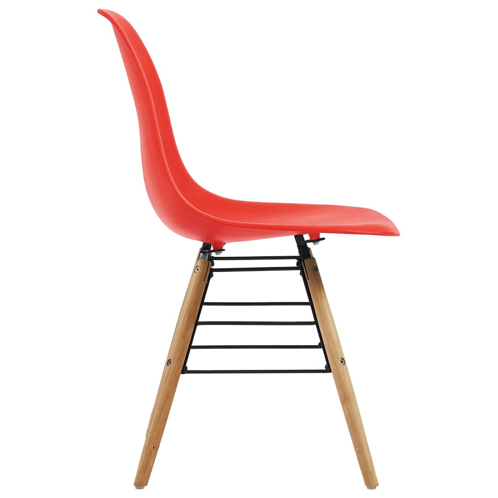 Dining Chairs 6 pcs Red Plastic 4