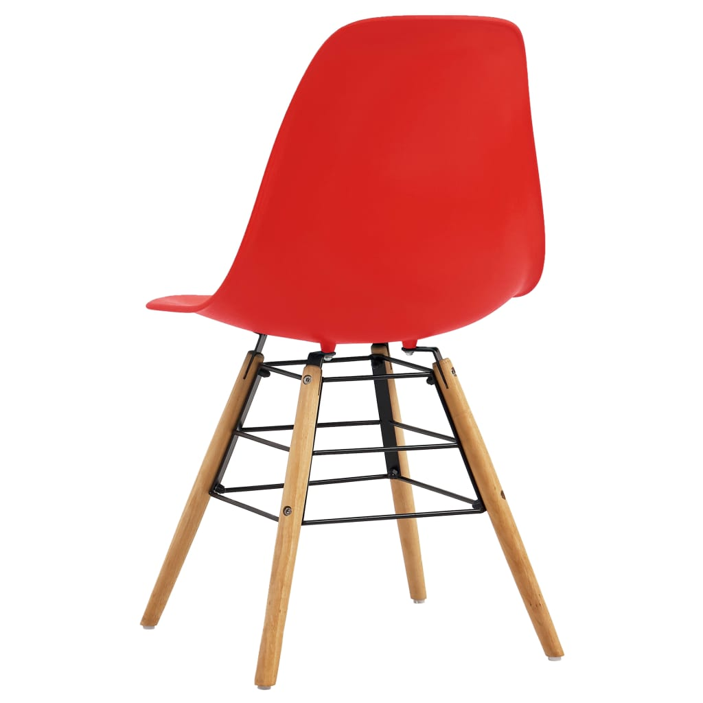 Dining Chairs 6 pcs Red Plastic 5