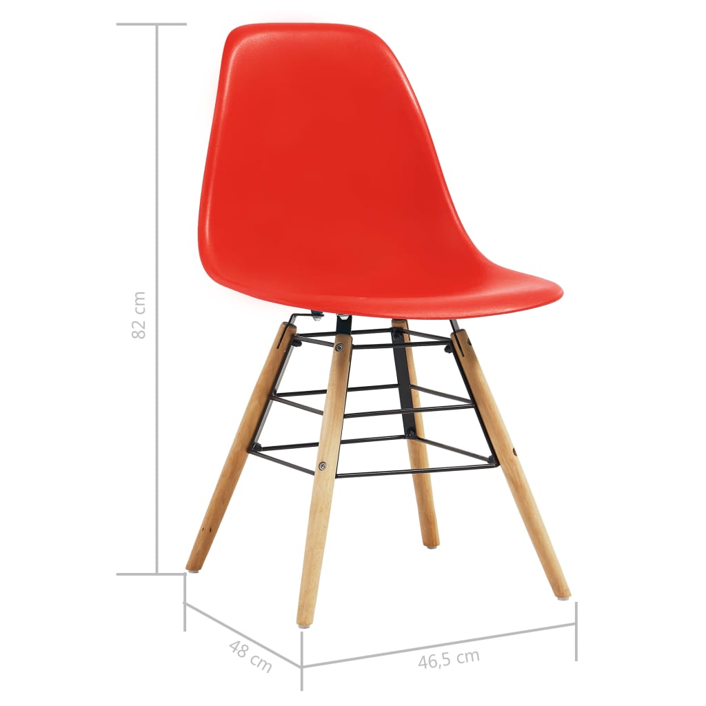 Dining Chairs 6 pcs Red Plastic 7