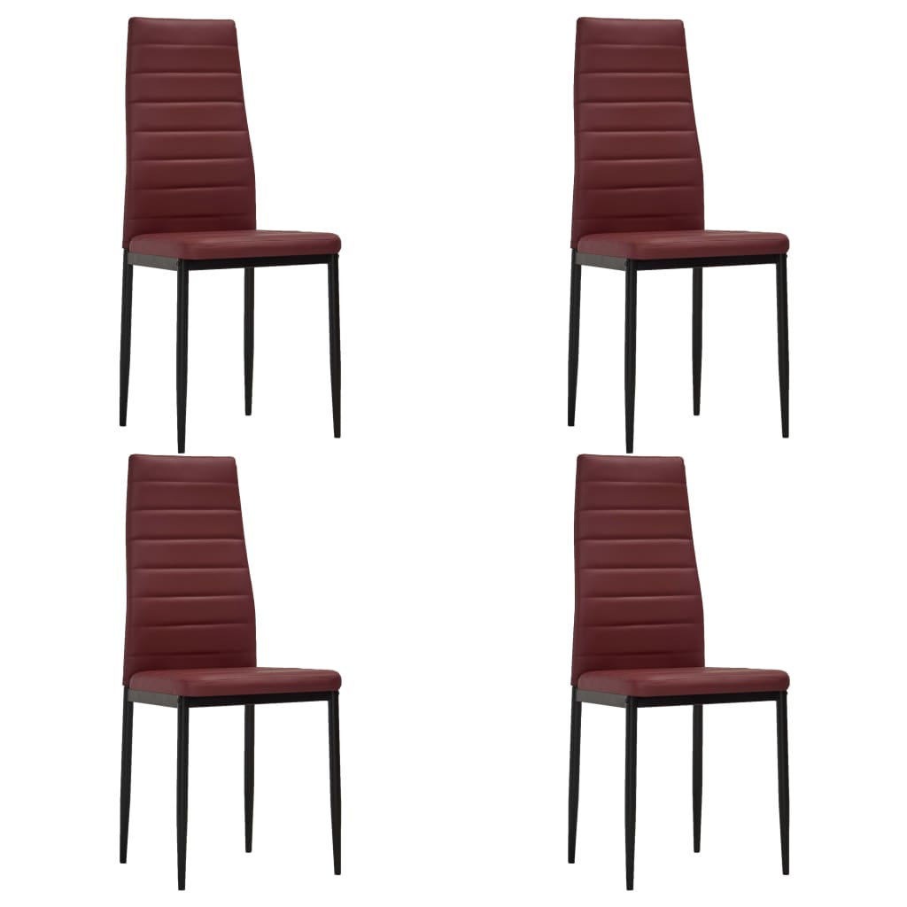 Dining Chairs 4 pcs Bordeaux Red Faux Leather 1