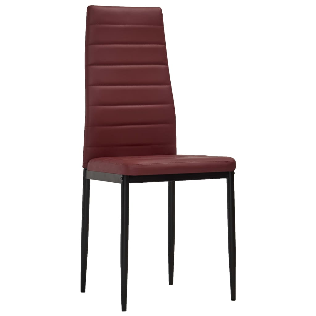 Dining Chairs 4 pcs Bordeaux Red Faux Leather 2