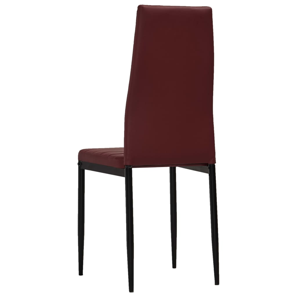 Dining Chairs 4 pcs Bordeaux Red Faux Leather 5