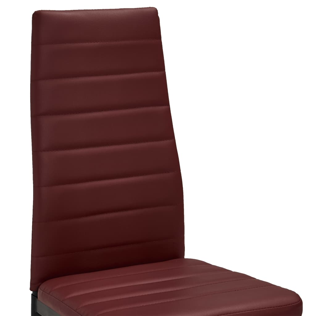 Dining Chairs 4 pcs Bordeaux Red Faux Leather 6
