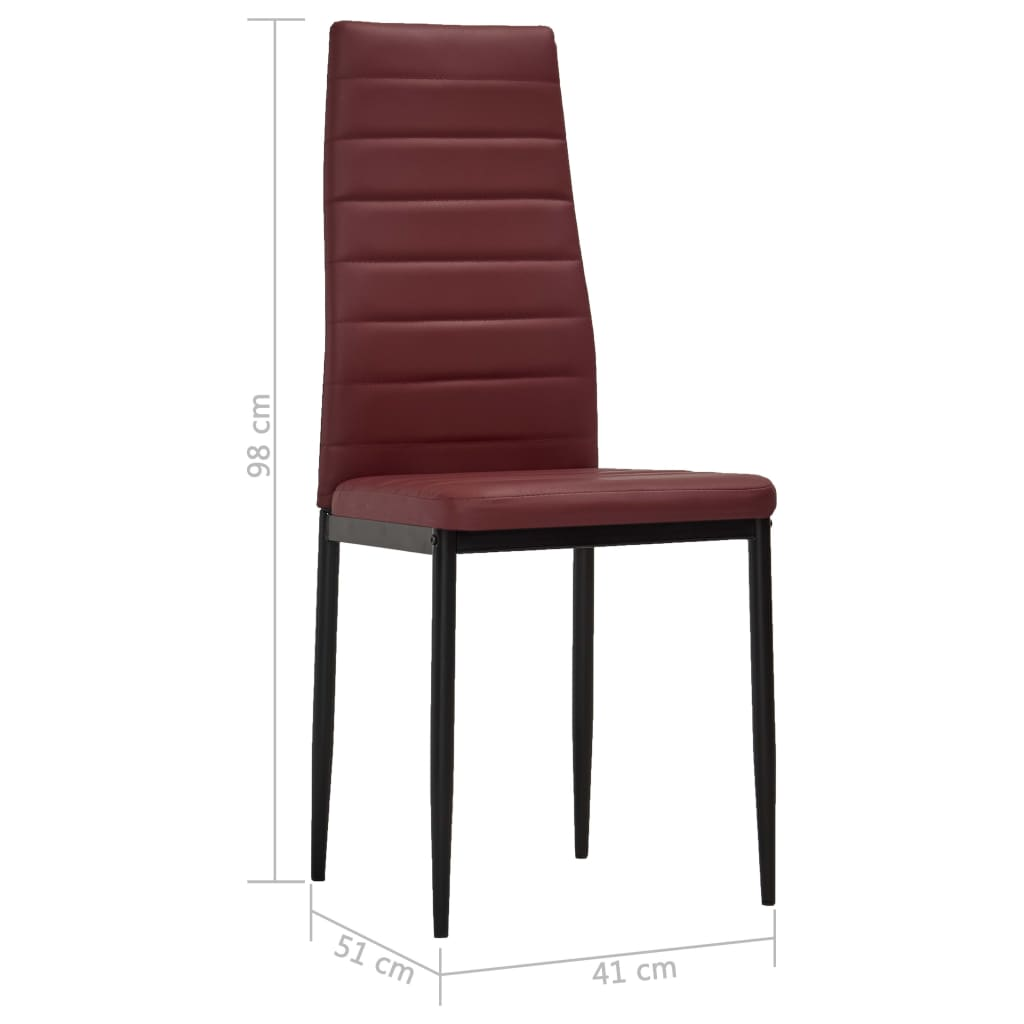 Dining Chairs 4 pcs Bordeaux Red Faux Leather 8