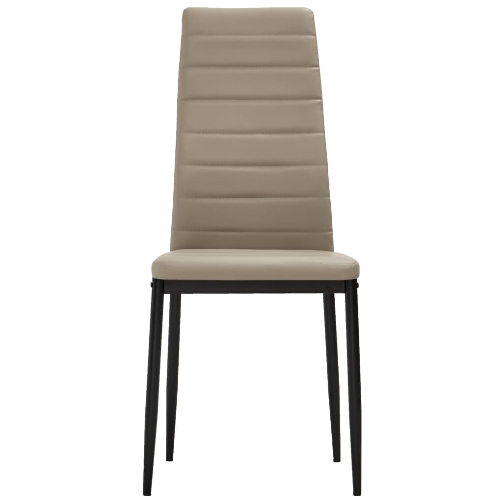 Dining Chairs 2 pcs Cappuccino Faux Leather 3