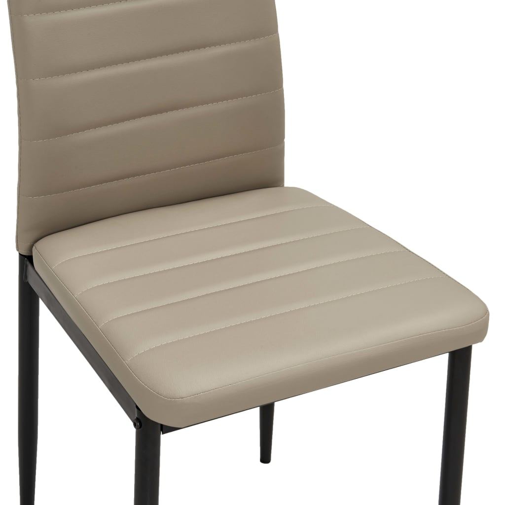 Dining Chairs 2 pcs Cappuccino Faux Leather 7