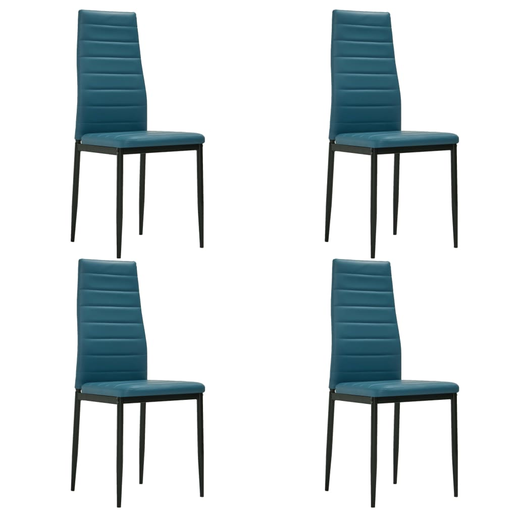 Dining Chairs 4 pcs Sea Blue Faux Leather