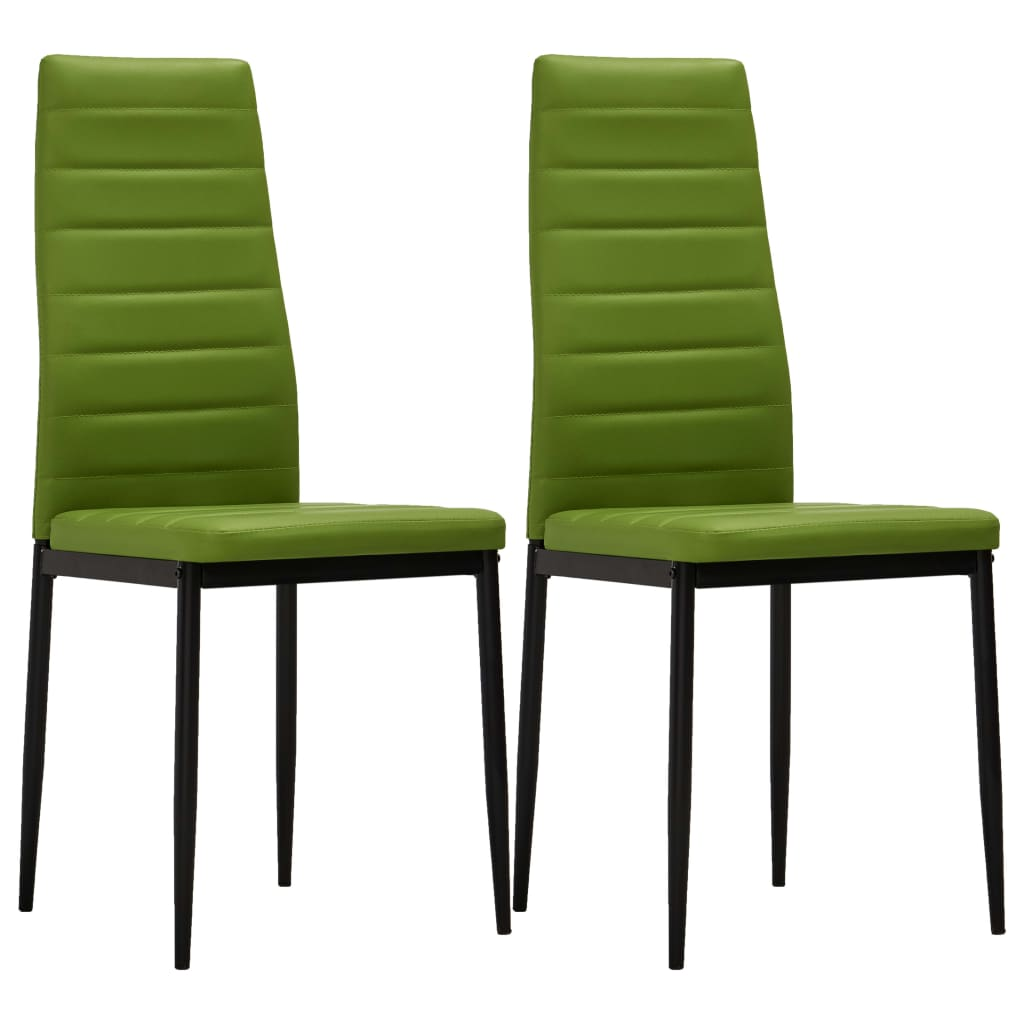 Dining Chairs 2 pcs Lime Green Faux Leather 1