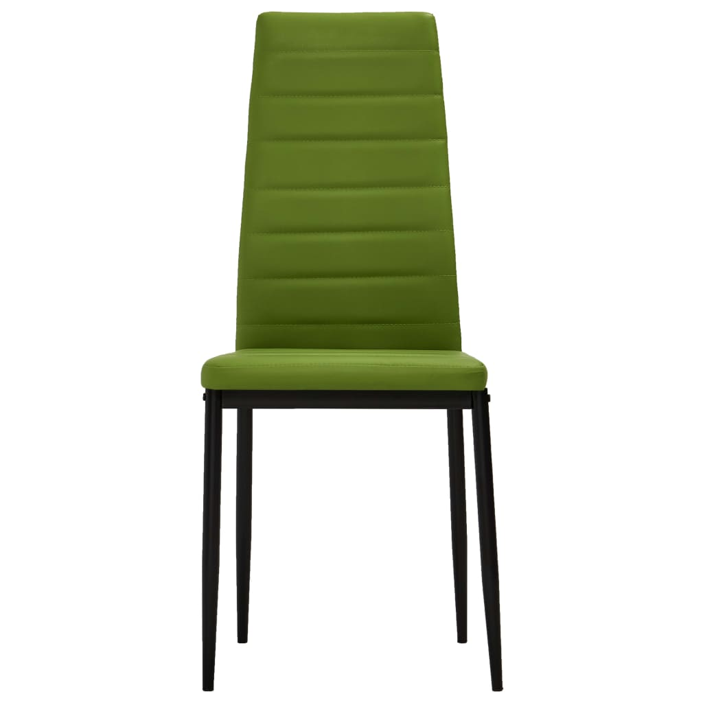 Dining Chairs 2 pcs Lime Green Faux Leather 3
