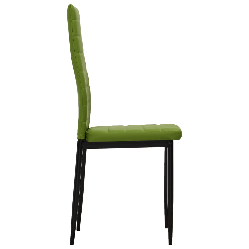 Dining Chairs 2 pcs Lime Green Faux Leather 4