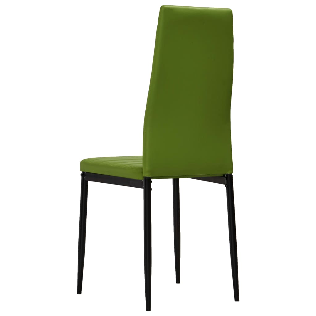 Dining Chairs 2 pcs Lime Green Faux Leather 5