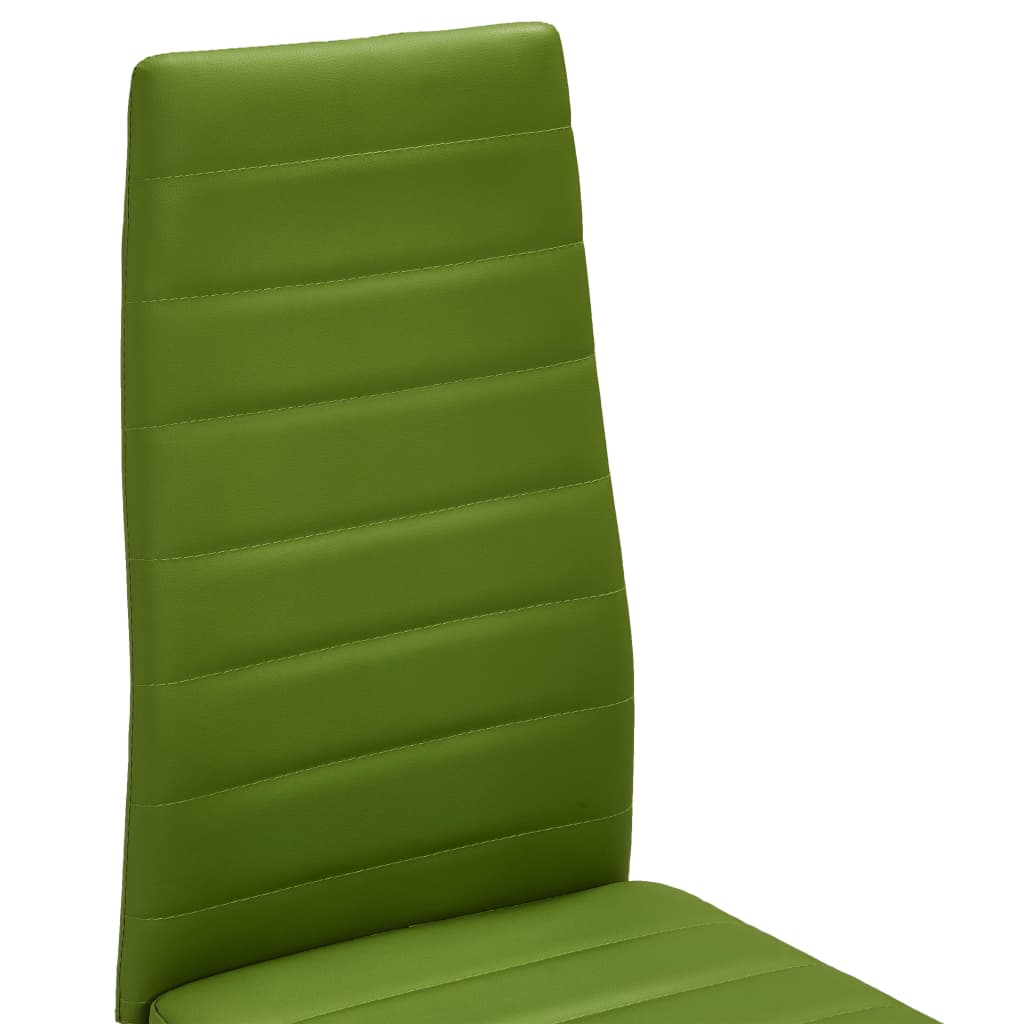 Dining Chairs 2 pcs Lime Green Faux Leather 6