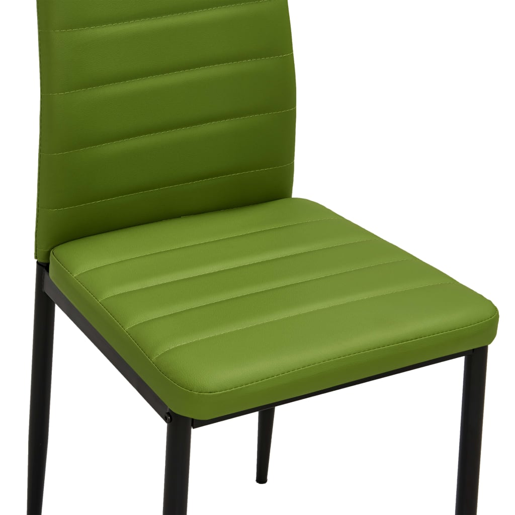 Dining Chairs 2 pcs Lime Green Faux Leather 7