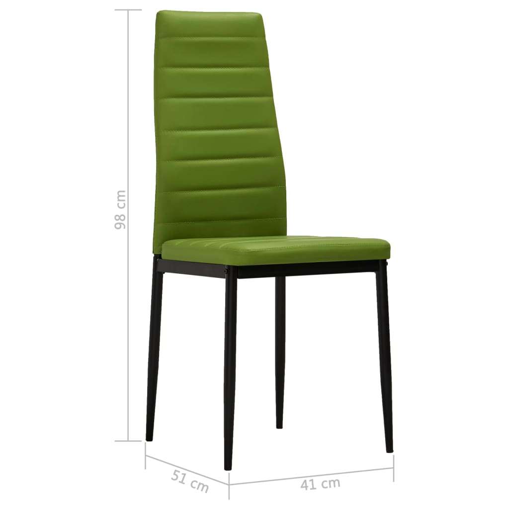 Dining Chairs 2 pcs Lime Green Faux Leather 8