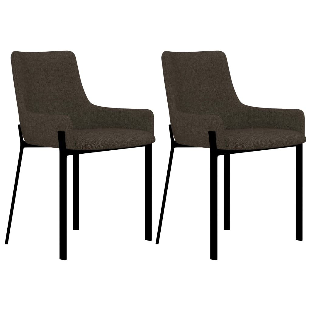 Dining Chairs 2 pcs Brown Fabric 1