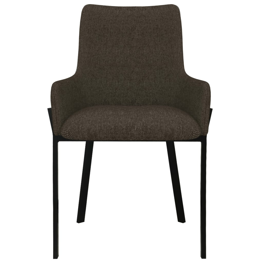 Dining Chairs 2 pcs Brown Fabric 3