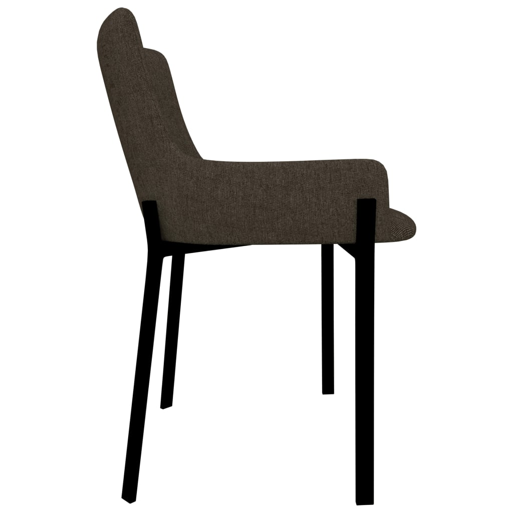 Dining Chairs 2 pcs Brown Fabric 4