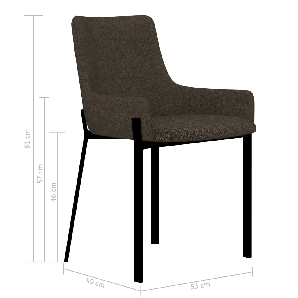 Dining Chairs 2 pcs Brown Fabric 7
