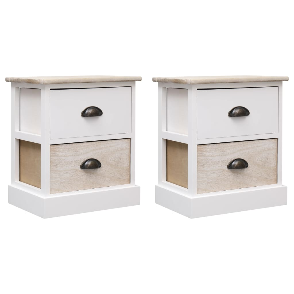 Nightstands 2 pcs White and Natural 38x28x45 cm Paulownia Wood