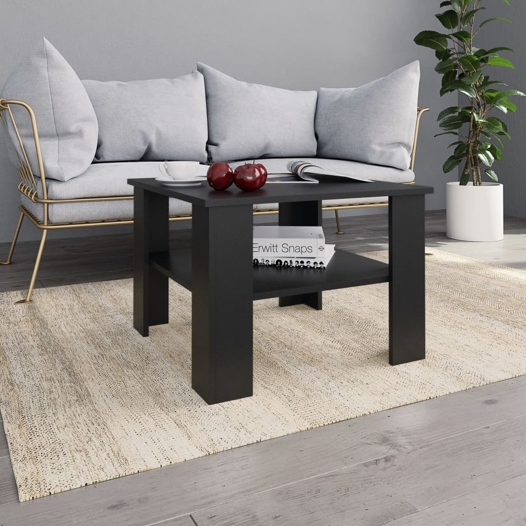 Coffee Table Black 60x60x42 cm Chipboard