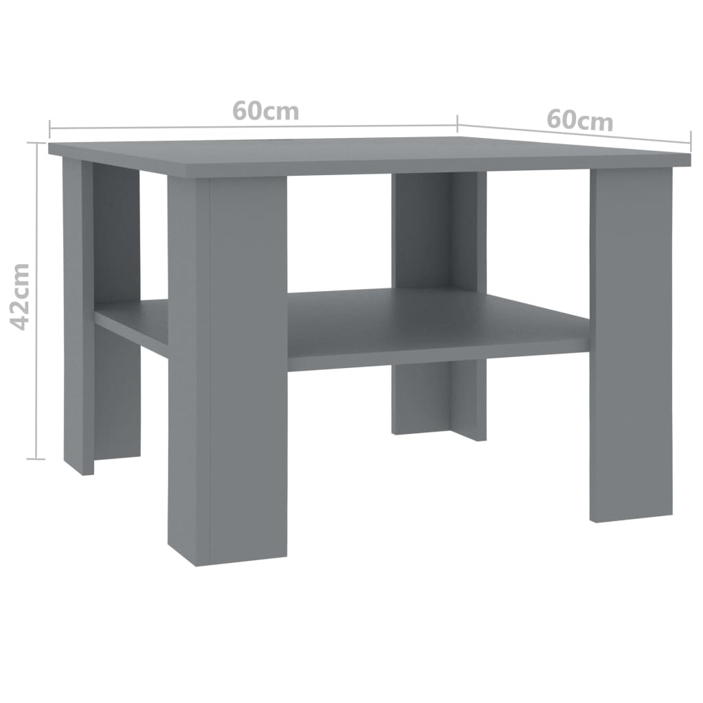Coffee Table Grey 60x60x42 cm Chipboard 5